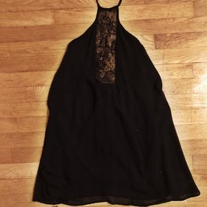 NASTY GAL Halter Open Back Black Dress with Lace